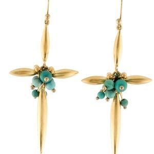 TED MUEHLING Turquoise Cross Earrings 14K 18K Gold
